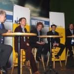 Foto (Hans-Martin Goede): Die Podiumsdiskussion zu Unwetterwarnungen in Deutschland brachte kein Ergebnis. V.l.n.r.: Dr. Gerhard Steinhorst (DWD), Dr. Gunther Tiersch (ZDF), Moderator Peter Mücke (NDRinfo), Marco Kaschuba (Fachjournalist) und Jörg Kachelmann (Meteomedia AG)