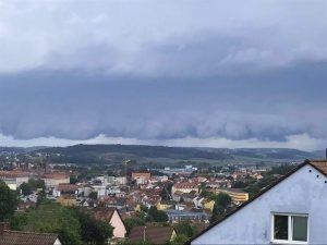 die Unwetterlinie über Ansbach am 18.08.2017, © Foto: Alexander Stingl